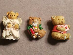 Lot Of 3 Vintage Plastic Teddy Bear Pins GGI Russ Angel,Hearts Christmas
