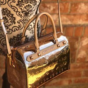 New Michael Kors Large Duffle Rose Gold Metallic Signature Handbag Free Shipping
