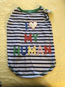 TOP PAW APPAREL FOR DOGS DOG SHIRT I LOVE MY HUMAN XS TO XL NEW WITH TAGS