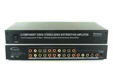 1x4 (1:4) Component 5-RCA Audio + Video Splitter Distribution Amplifier SB-3730