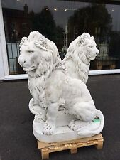 Large Impressive Lions , Pair of large stone Lion Statues , Huge stone Lions