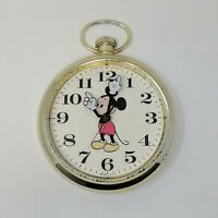 Vintage Disney Mickey Mouse Elgin Welby Gold Wall Clock Pocket Watch Battery
