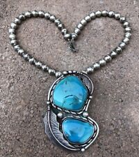 Vintage Old Pwn Navajo Fox Turquoise Sterling Silver Pendant Bench Bead Necklace