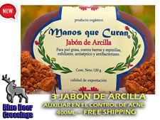 3 PACK JABON DE ARCILLA ANTI-ACNE ACCION EXFOLIANTE MANOS QUE CURAN 120gr