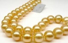 """10mm Golden South Sea Shell Pearl Round Beads Hand Knotted Necklace 18"""" AAA"""