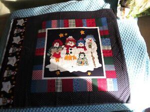 """2 Christmas theme fabric squares (13"""" sq.)"""