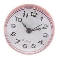 Bathroom Clock Waterproof Portable Small Wall Clock with Suction Cup-Pink