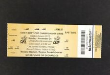 2013 CFL Football Grey Cup Ticket Championship Game Saskatchewan Mosaic Stadium