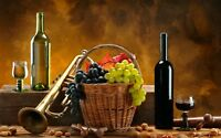 Wine Fruit In A Basket - Kitchen Wall Art Framed Canvas Pictures