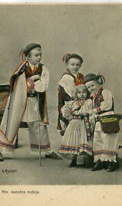 Croatia Kids in Country Dress Costume old postcard