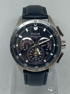 Pulsar By Seiko Men VK63-X001 Stainless Steel Watch Brand New Leather Strap