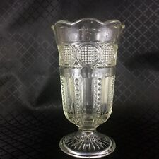 Vintage Art Deco Glass Vase Footed Trumpet 1930s Clear / Light Green