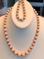 Vintage Rare  Avon Gold Peach Lucite Beaded Necklace Bracelet Set GreatCondition