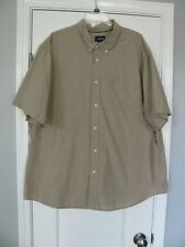 Basic Editions Button Front Short Sleeve Beige/Tan Shirt Size 3XL