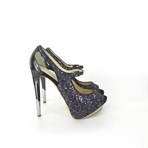 Boutique 9 Nickeya Peep Toe Mary Jane Platform Pump Purple Glitter Heels 9.5 US