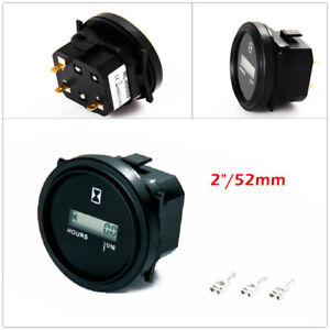 Hour Meter Round Display Counter DC 12v 24v 36v for ATV Boat Marine Truck Engine