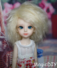 "6-7"" 16-17cm BJD doll fabric fur wig Light Golden curly hair for 1/6 bjd dolls"