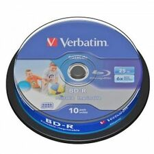 10 BD -R Verbatim Print 43804 Stampabili 25GB 6X BluRay Cakebox Printable Vuoti