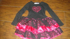 AMY COE 24M 24 MONTHS 2T BLACK PINK HEART LACE DRESS