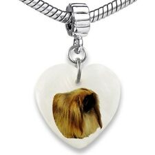 Pekingese Dog Heart Dangle Mother Of Pearl European Bracelet Charm Bead EBS235
