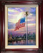 Thomas Kinkade Dbl Signed Light of Freedom 18x24 S/N Limited Flag New York 9/11