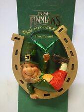 DECLAN'S FINNIANS Leprechaun on horseshoe hanging ornament