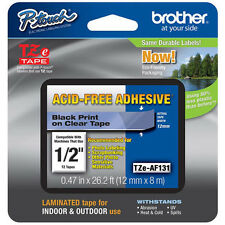 "Brother TZeAF131 1/2"" (12mm) Acid Free Adhesive P-touch Tape PT1900, PT-1900"