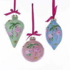 Flamingo Pink Green Blue Porcelain Ornament Set 3 Ocean Beach Coastal Christmas