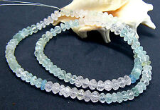 "RARE AAA NATURAL HAND CARVED CLEAR AQUAMARINE BEADS 6-7mm 17"" STRAND 120.5cts"