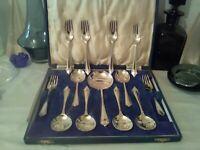 vintage art deco dessert spoon set fruit forks  EPNS FC&CO A1 plated.boxed 13