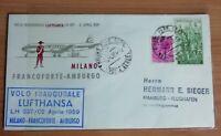 STORIA POSTALE BUSTA ITALIA PRIMO VOLO LUFTHANSA MILANO AMBURGO1959 Italy flight