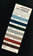 1964 STUDEBAKER Color Chip Paint Sample Brochure/Chart: S-W, Original