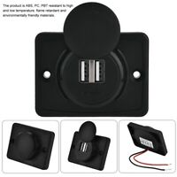 Dual USB Port Charger Socket 3.1A 12V/24V LED Waterproof For Car Motorcycle
