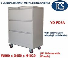 TCS FULLY ASSEMBLED 3 DRAWER LATERAL METAL FILING CABINET OFFICE with 4 Wheels