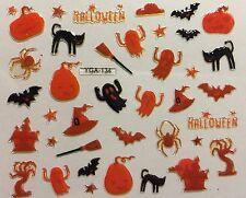 Nail Art 3D Decal Stickers Halloween Orange Ghost Bat Pumpkin Black Cat YGA134