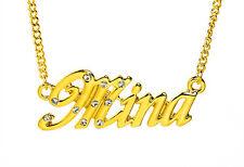 18k Chapado En Oro Con Collar Con Nombre Mina-Diseñador Moda Navidad Elegante