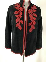 Women's Small Leather Jacket Linea Black FLoral emboridered Front Lined