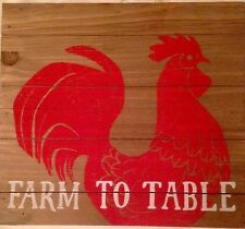 "Sonoma Life + Style Homestead Red Rooster ""FARM TO TABLE"" Kitchen Wall Decor"
