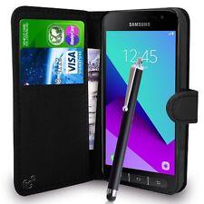 Portafoglio Nero Custodia PU Pelle libro copertura per Samsung Galaxy Xcover 4 G390F mobile