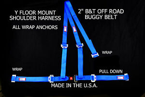 """RJS RACING 2"""" BUGGY OFF ROAD SEAT BELT 3 POINT B&T Y HARNESS BLUE VW SAND RAIL"""