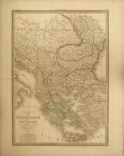 TURCHIA GRECIA ALBANIA BALCANI TURKIYE GREECE BALKANS Carta Geografica 1854