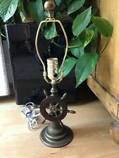 Vintage Nautical Ships Wheel Small Electric Table Lamp