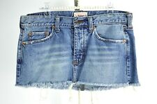HOLLISTER Distressed Denim Jean Skirt Size 9 Medium Wash Mini Juniors Button Fly