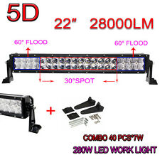 5D CURVED 22INCH 280W OSRAM LED LIGHT COMBO OFFROAD BAR DRIVING LAMP CAR ATV SUV