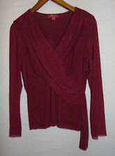 Monsoon Womens Sheer V Neck Purple Top Size 14