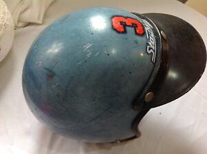 Vintage 3 Stadium Motorcycle blue Helmet vintage moped black visor collectible