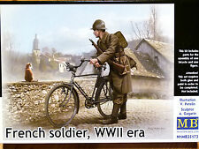 Masterbox 1:35 French Soldier With Bicycle WWII Era Figure Model Kit