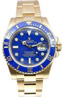 Rolex Submariner 18k YG Blue Diamond Dial Ceramic 40mm Watch Box/Papers 116618LB