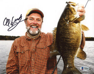 AL LINDNER SIGNED 8x10 PHOTO FAMOUS FISHERMAN FISHING LINDYRIG RARE BECKETT BAS