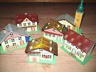 vintage German Christmas village cardboard Erzgebirge house church set HO train